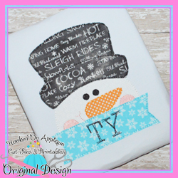 Peeking Snowman Bean Stitch Applique