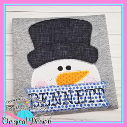 Peeking Snowman Zig Zag Applique