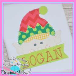 Peeking Boy Elf Bean Sttich Applique