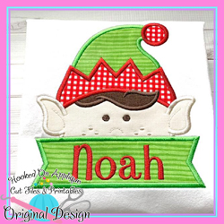 Peeking Boy Elf Applique