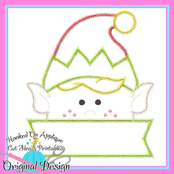 Peeking Boy Elf Zig Zag Applique