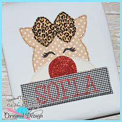 Peeking Girl Deer Bean Stitch Applique