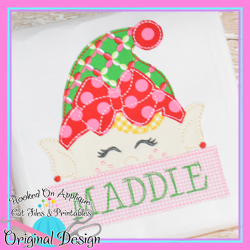 Peeking Girl Elf Bean Stitch Applique