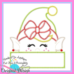 Peeking Girl Elf Zig Zag Applique