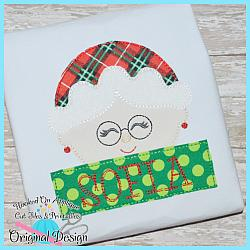 Peeking Mrs Clause Bean Stitch Applique