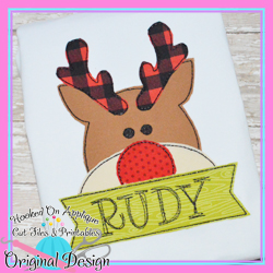Peeking Rudolph Bean Stitch Applique