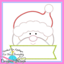 Peeking Santa Zig Zag Applique