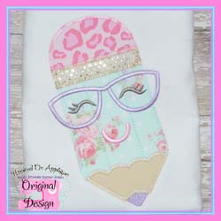 Pencil Glasses Girl Zig Zag Applique