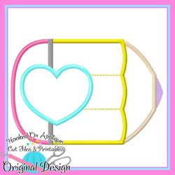 #HOA1087 Pencil Heart Applique