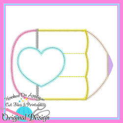 Pencil Heart Zig Zag Applique