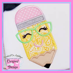 Pencil Hearts Girl Applique