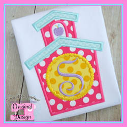 School House Hearts Circle Applique
