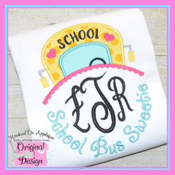 School Bus Sweetie Applique