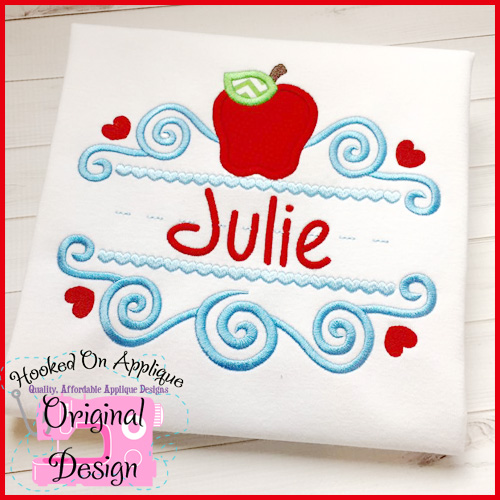 Scroll Apple School Applique Design