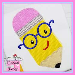 Pencil Glasses Boy Zig Zag Applique