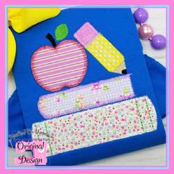School Books Zig Zag Applique