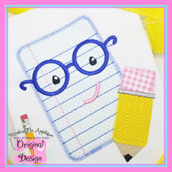 Paper Pencil Boy Zig Zag Applique