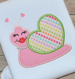 Snail Heart Girl Applique