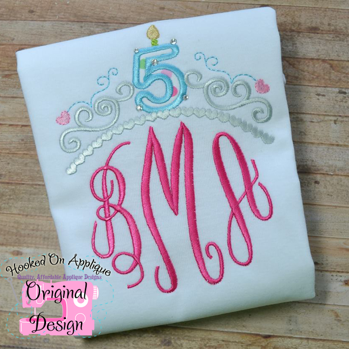 Tiara only Birthday Numbers Applique