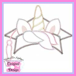 Unicorn Grad Topper ZigZag Applique