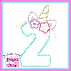 Unicorn Numbers Applique Set