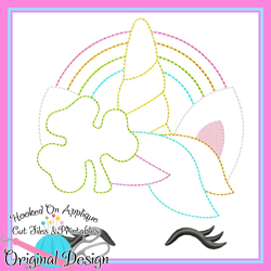 Shamrock Unicorn Bean Stitch Applique