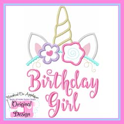 Unicorn Birthday Girl Applique
