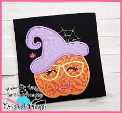 Witch Face Pumpkin Applique